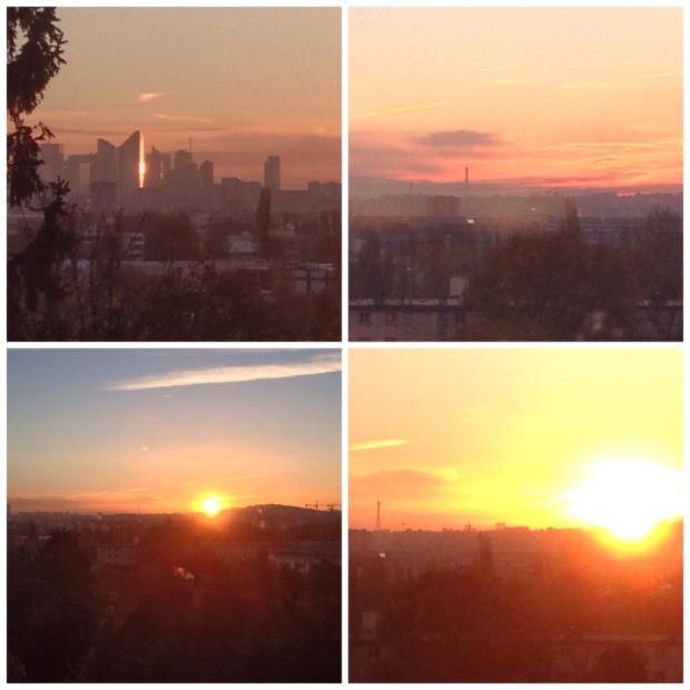 paris sunrise la defense eiffel tower