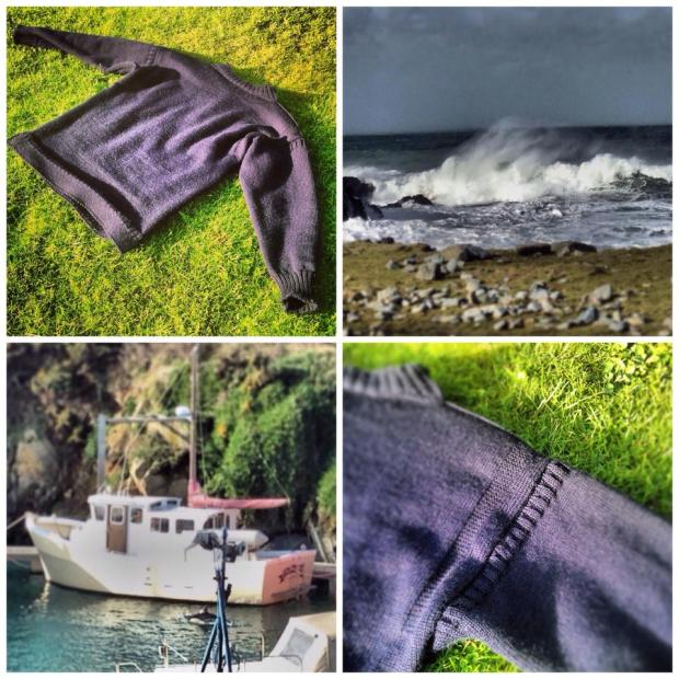 Guernsey jumper and waves